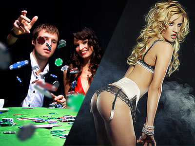Split image of a man throwing poker chips on a table, and a woman in underwear bending over
