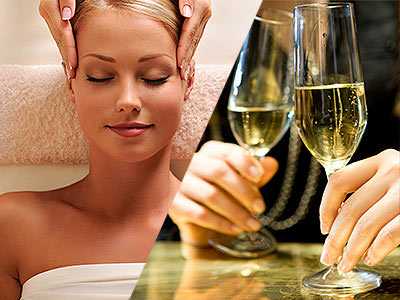 A split image of a woman receiving a head massage and two glasses of prosecco