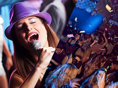 A split image of a woman singing into a microphone and people partying with confetti surrounding them