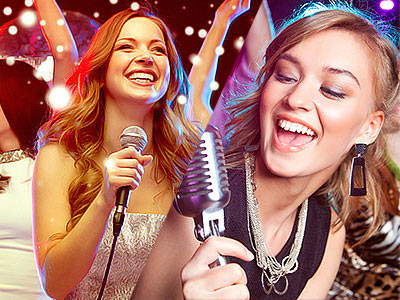 A split image of two girls singing into microphones