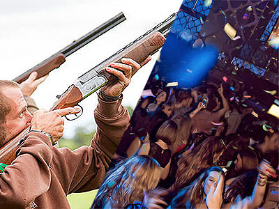 A split image of a man firing a gun into the air and one of people partying with confetti surrounding them
