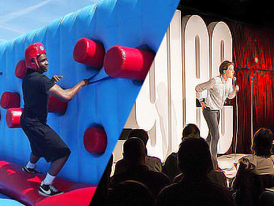Split image of a man running along an inflatable wall, and a man speaking on stage in front of a crowd
