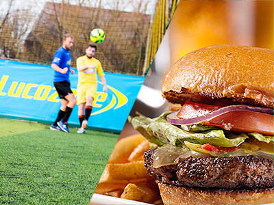 A split image of two men playing football and a burger
