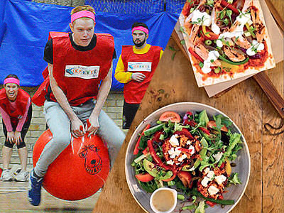 A split image of a man bouncing on a space hopper and two salads from a birds eye view