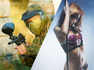 A split image of a man firing a paintball gun and a woman on a pole in her underwear