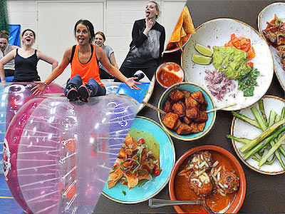 Split image of women sat on top of zorbs, and various plates of food on a table