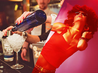 Split image of a bottle pouring alcohol into a martini glass of ice, and a woman in a red vest, afro wig and sunglasses