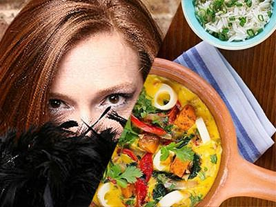 Split image of a woman holding a black feather boa to her face, and two dishes of food