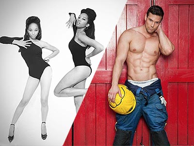 A split image of two women dancing in black leotards and a topless man carrying a fireman's helmet