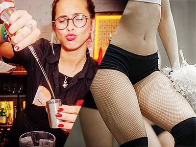 Split image of a female bartender pouring spirits into a shot glass, and a woman in fishnets, small shorts and a crop top