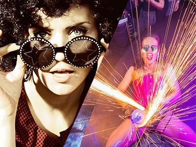 Split image of a woman holding star sunglasses to her face, and a woman creating sparks on stage