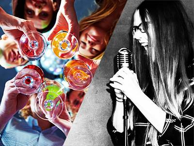 A split image of some when holding wine glasses, taken from below, and a girl singing into a microphone