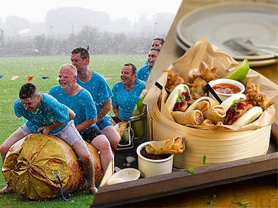 Split image of men sat on an inflatable in a muddy field, and food served in a wicker basket