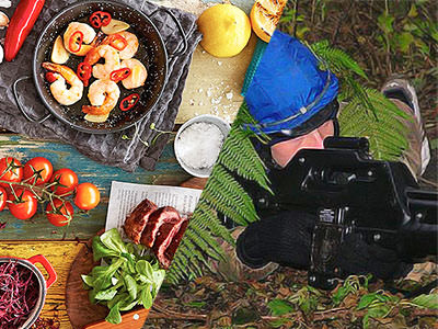 Split image of food in various dishes, and a man aiming with a laser gun outdoors