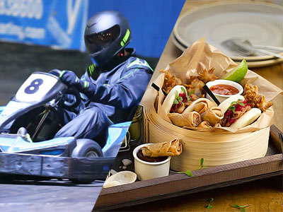 A split image of a man driving a go kart and some food on a wooden table