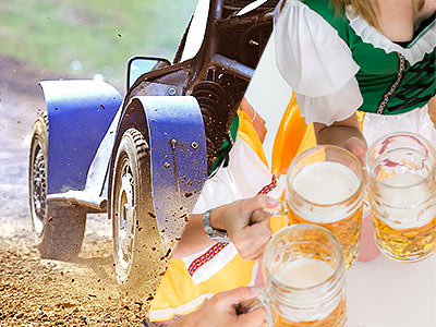 Split image of a car driving through mud, and women dressed as Bavarian beer maids and toasting with full steins