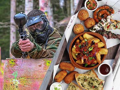 A split image of a man firing a paintball gun and a birds eye image of food