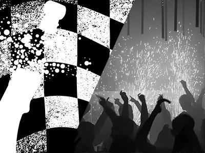 A cartoon image of a champagne cork popping with a checkerboard background and people partying in a club with sparks behind them