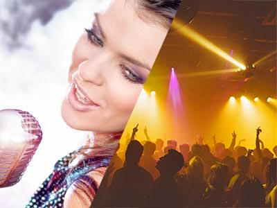 A split image of a woman singing into a microphone and some people partying in a club under yellow lights
