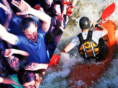 A split image of people partying in a club and a man battling the rapids in a canoe