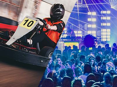 A split image of a go kart driving around a track and a busy club