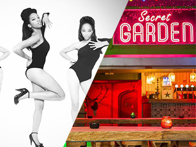 A split image of some girls in leotards dancing, and The Secret Garden bar's exterior