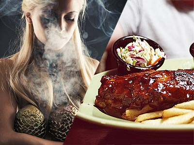 A split image of a mysterious looking girl with a smokey background and a ribs and chips meal