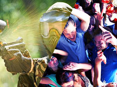 A split image of a man firing a paintball gun and an aerial shot of some people partying with their hands in the air