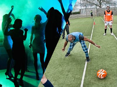 Split image of silhouettes dancing to a backdrop of green and blue light, and a man looking for a football whilst wearing goggles