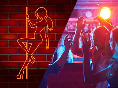 Split image of an illustration of a girl pole dancing and people dancing to a backdrop of blue and purple light