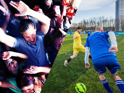 Split image of people dancing, and two people playing fooball on an outdoor pitch