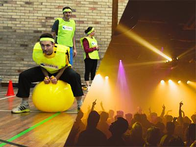 Split image of a woman bouncing on a yellow space bopper, and silhouettes of people dancing to a backdrop of yellow light
