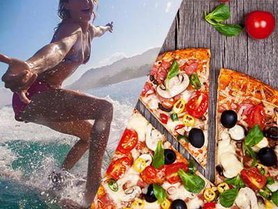 A split image of a girl surfing and a birds eye view of a pizza on a wooden table