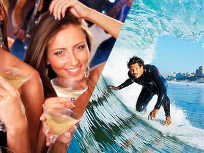 A split image of a woman looking into the camera and smiling whilst holding a yellow cocktail and a man surfing