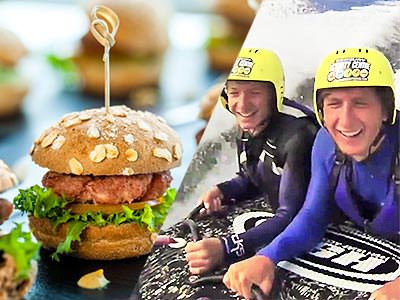 Split image of a burger, and two men in westuits and helmets, pulled by a sled in the sea