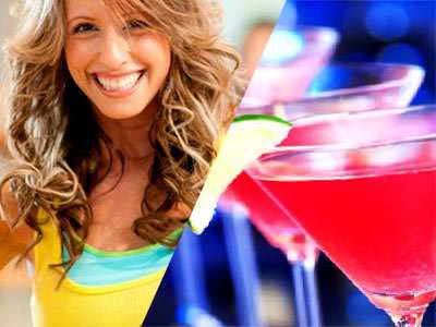 Split image of a woman smiling in a yellow vest, and two cosmopolitan cocktails