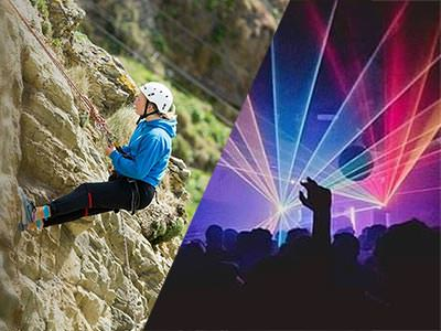 Split image of a woman abseiling down a cliff, and silhouettes of people and hands in the air to a backdrop of blue and pink strobe lights