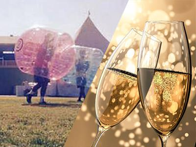 Split image of people playing on a pitch in zorbs, and two full champagne flutes toasting