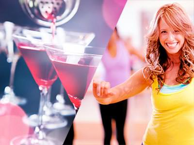 Split image of two cosmopolitan cocktails being poured, and a woman dancing in a yellow vest