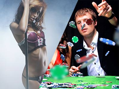 Split image of a woman in underwear and holding onto a pole, and a man throwing poker chips onto a table
