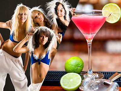 Split image of woman in blue bras and white trousers, and a pink cocktail with a lemon on the rim and two limes at the side