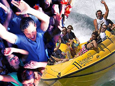 Split image of people dancing, and people in a yellow speedboat on the water