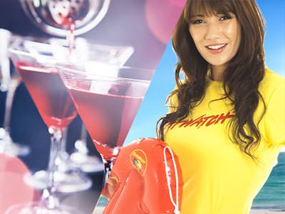 Split image of two red cocktails, and a woman holding a red float and wearing a yellow Lifeguard top