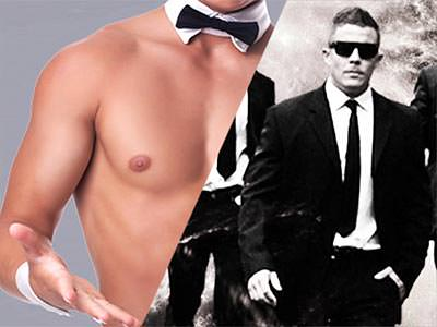 Split image of a naked male torso and a black and white bowtie, and men in tailored black and white suits