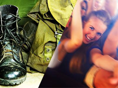 Split image of black army boots and a green rucksack, and people dancing