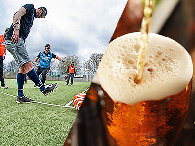A split image of some men playing goggle football and a pint being poured