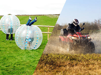 A split image of two people in a field in zorbs with one person upside down in one, and a quad bike driving through a muddy field