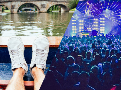 A split image of a mans feet in a boat and of people partying in a busy nightclub