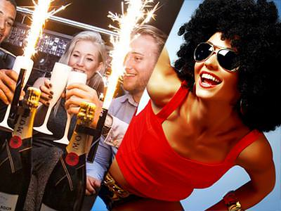 Split image of three people toasting in front of champagne bottles topped with sparklers, and a woman in a red vest, afro wig and sunglasses