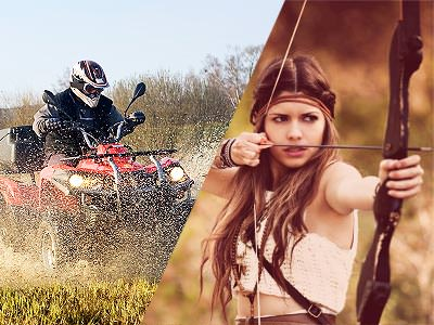 Split image of someone driving a quad bike through a field, and a woman aiming with a bow and arrow